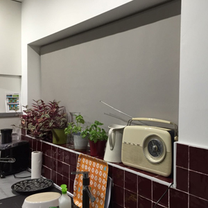 Roller blind in kitchen window in Chorlton