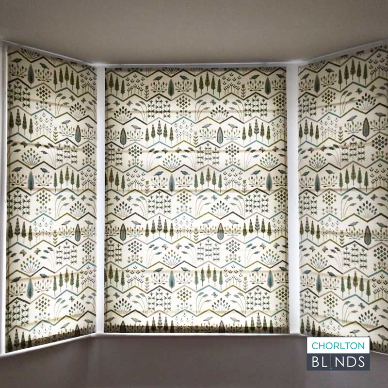 Roman Blinds in Green and White Pattern in Bay Window