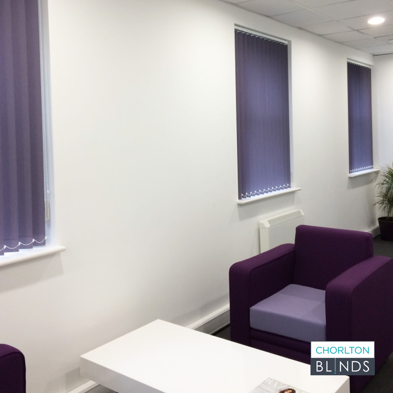 Purple Vertical Blinds in Office Building