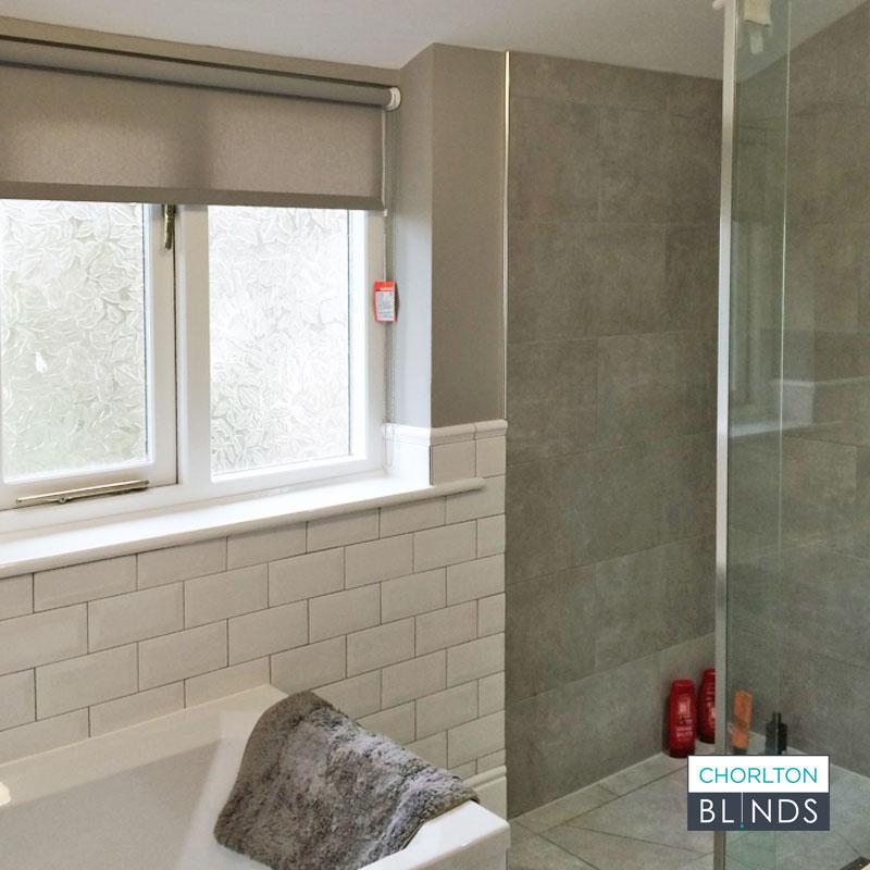 Grey Dim Out Blind for Bathroom Window