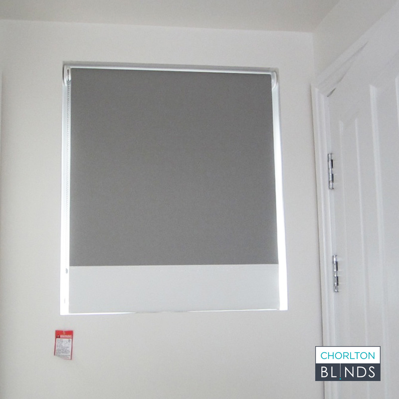 Grey Roller Blind with White Contrasting Band