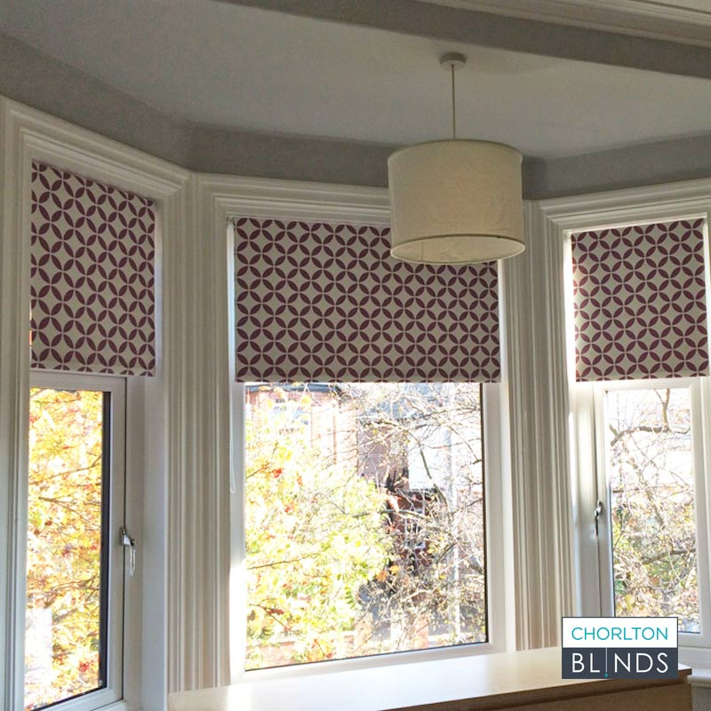 Colour matched roller blind in bespoke pattern