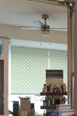 Patterned roller blinds in Chorlton beauty studio
