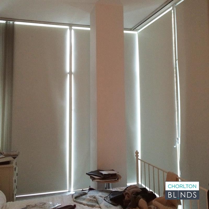 White Blackout Blinds for City Centre Apartment