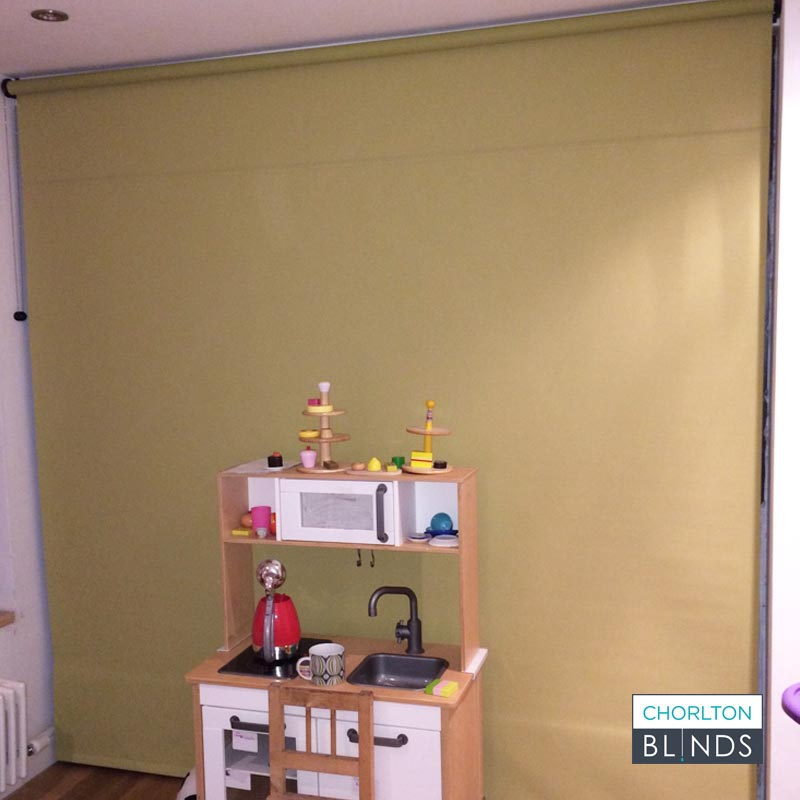 Large Green Roller Blind with Horizontal Join
