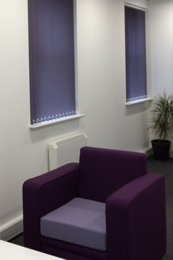purple vertical blinds in manchester office