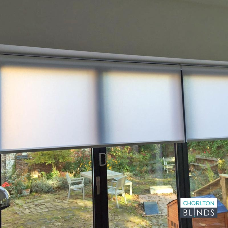 White Roller Blinds on Bifold Doors