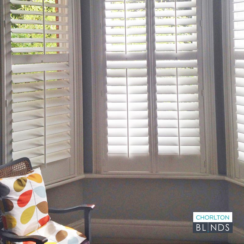 Bay Window with White Plantation Shutters in Chorlton