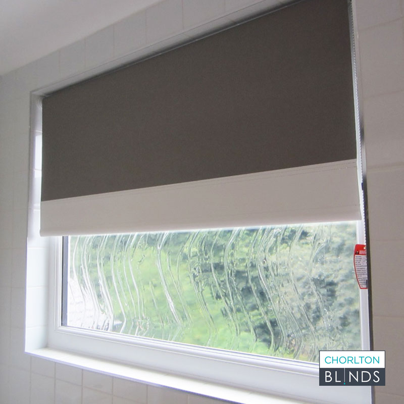 White Contrasting Finish on Grey Roller Blind
